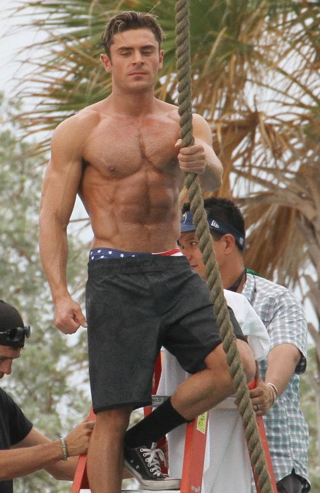 Actor Zac Efron shooting a scene for Baywatch. (Picture: Splash News)