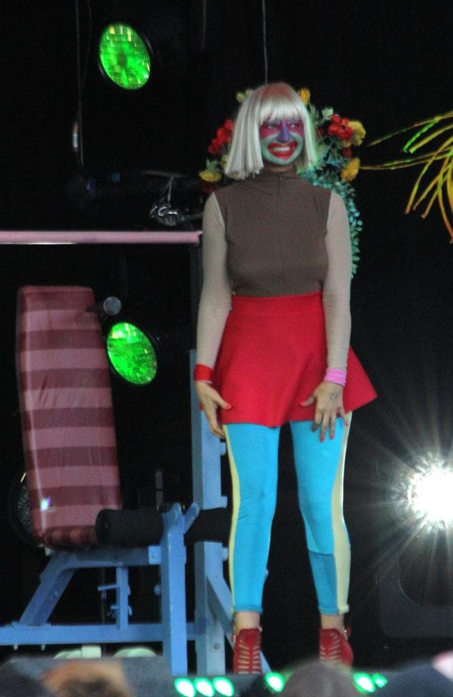 Yes, that IS Sia, performing on Jimmy Kimmel Live. Picture: Splash News