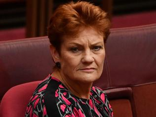 One Nation leader Senator Pauline Hanson during a debate on the Company Tax Bill in the Senate chamber at Parliament House in Canberra, Friday, March 31, 2017. (AAP Image/Mick Tsikas) NO ARCHIVING