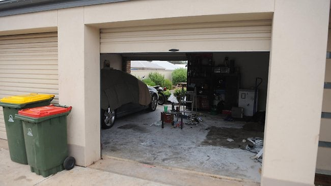 The Munno Para West garage where a youth, 17, was set alight by two other youths. Picture: Mark Brake