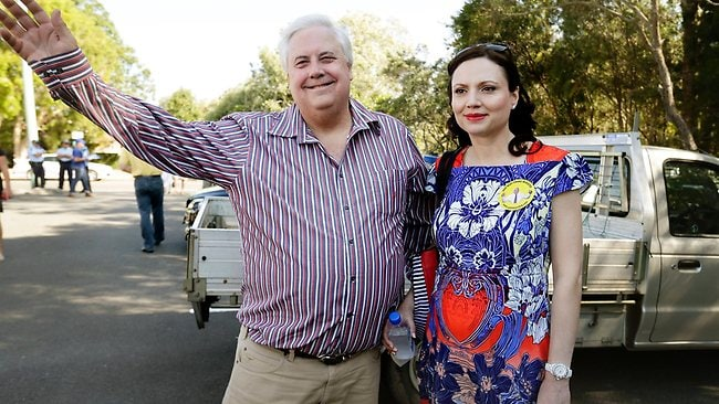 Clive Palmer with wife Anna at the Mt Coolum Day Care centre polling booth. Pic Megan Slade.