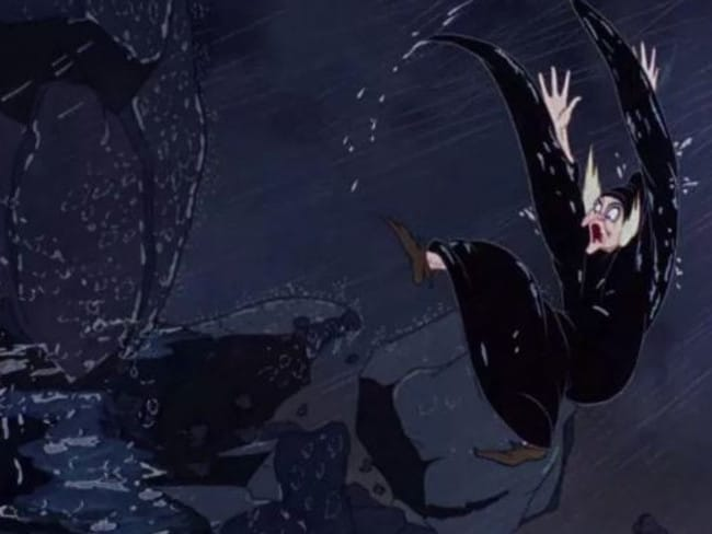 The evil Queen was a touch clumsy at the end of Snow White. Picture: Disney.