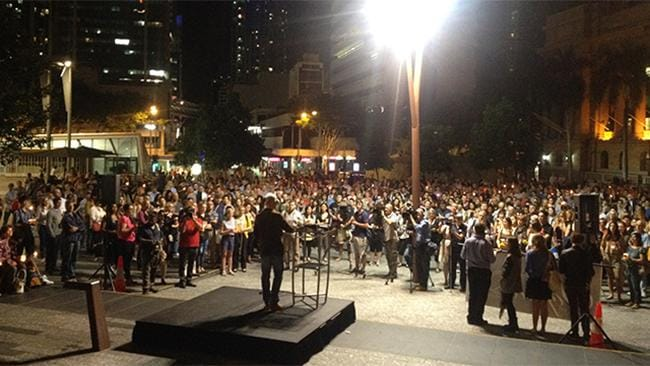 HUNDREDS gather in King George Square to rhonour Sohpie Collombet. Pic: Tom Snowdon