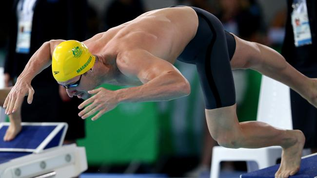 James Magnussen off the blocks on the way to winning his Semi Final of the Men's 100m Freestyle.