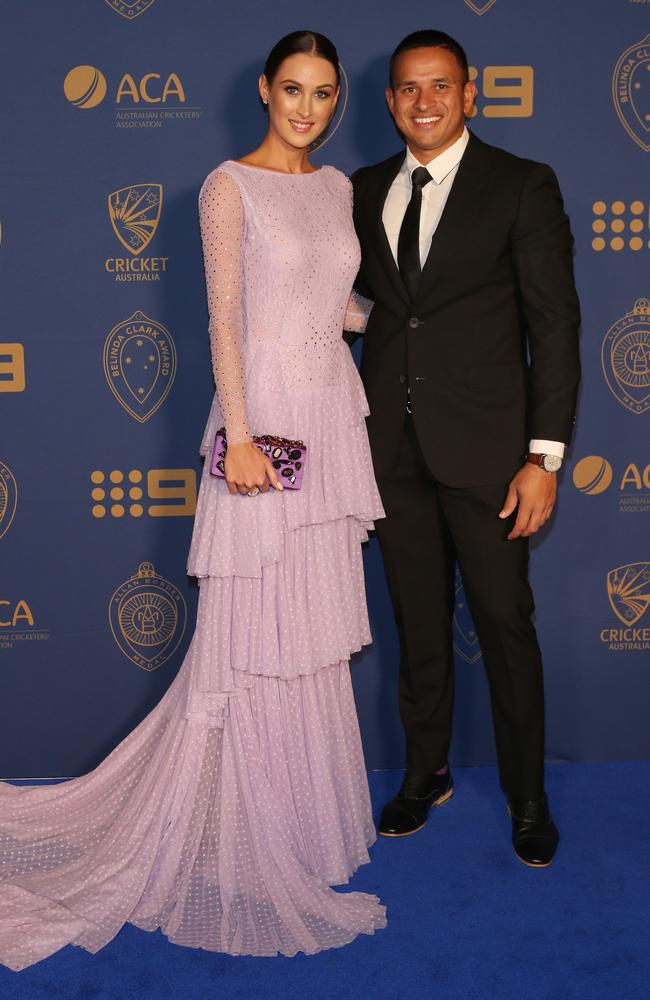 Usman Khawaja and his partner Rachel McLellan at the Allan Border Medal award ceremony. Picture: David Crosling/AAP