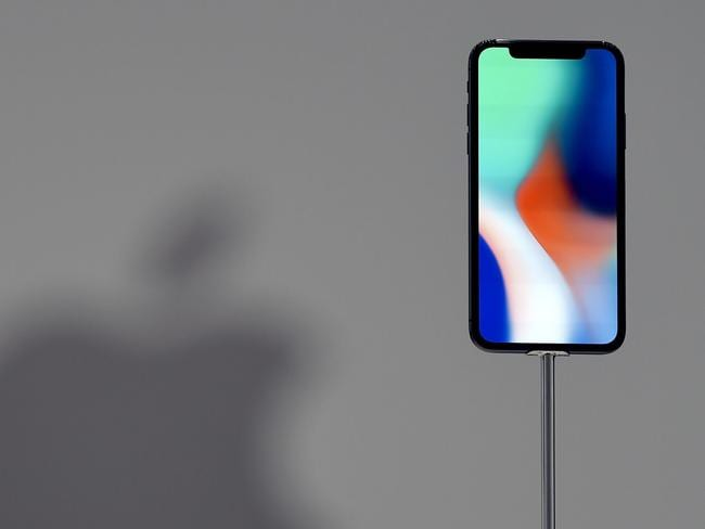 An iPhone X is seen on display during a media event at Apple's new headquarters. Picture: AFP