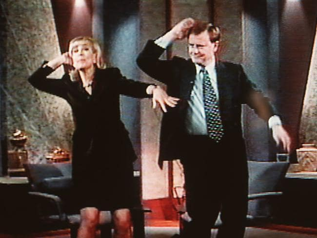 Australian politician Peter Costello with Kerri-Anne Kennerley dancing the macarena on  <i>The Midday Show</i>. Picture: Channel 9