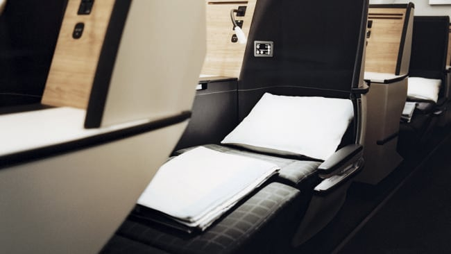 Comfortable seats that turn into lie-flat beds are super important when flying business. Picture: Supplied