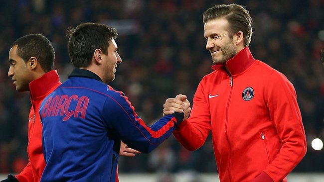 David Beckham of PSG and Lionel Messi of Barcelona may face each other again in the second leg of their Champions League quarter-final. Picture: Clive Rose