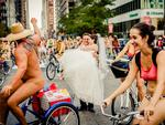 Note to self: make sure you check there are no 'nude bike rides' on near your wedding location on your special day. Picture: JPG PHOTOGRAPHY / ISPWP / CATERS NEWS