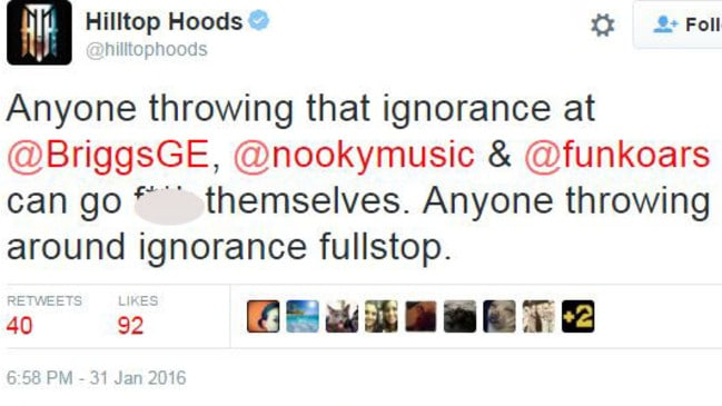 Aussie hip hop sensations the Hilltop Hoods also weighed into the controversy.
