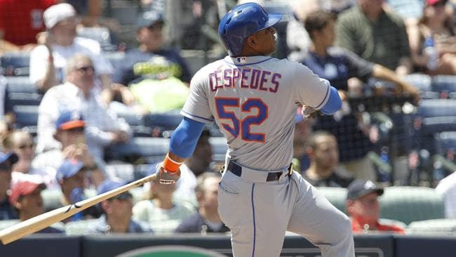 New York Mets batter Yoenis Cespedes hits a grand slam home run.