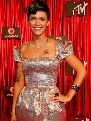 Ruby Rose flaunts a couple small tattoos in 2009. Picture: Cameron Spencer/Getty Images