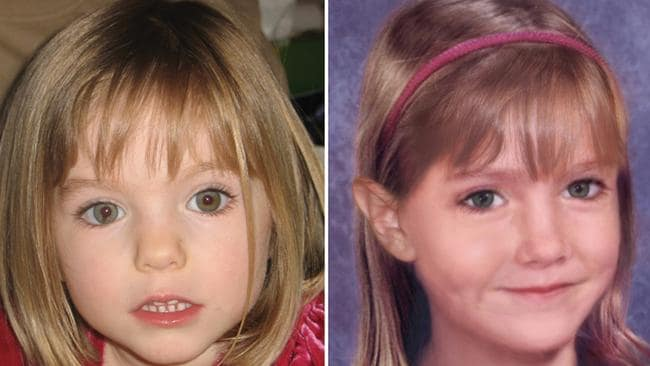 A combination of two pictures released by Madeleine McCann's spokesman on May 1, 2009 showed Maddie McCann at the age of 3 (L), and an 'age progression' image of her at the age of 6. Picture: AFP.