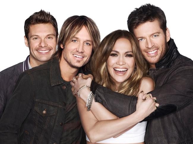 American Idol host Ryan Seacrest with judges Keith Urban, Jennifer Lopez and Harry Connick Jr. Picture: Supplied