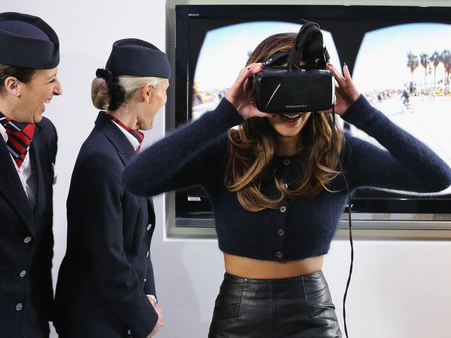 Former Pussycat Doll Nicole Scherzinger demonstrates an Oculus Rift headset used by British Airways. Picture: British Airways via Getty Images
