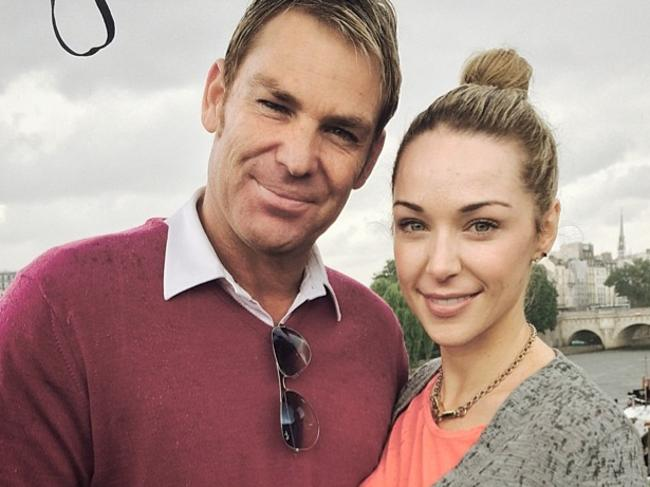 "Spin king Shane Warne and his rumored girlfriend Emily Scott in Paris. ""Chilling in the rain ∧ having fun in Paris with @emilyscottofficial."" Picture: Instagram"