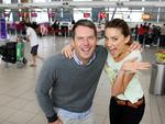 The Great Outdoors team Rachel Finch and Tom Williams at Sydney Domestic airport.