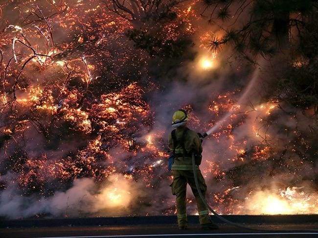 A firefighter battles the Yosemite blaze. Picture: Getty