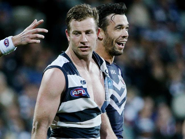 Johnson was in the footy wars against Fremantle's Ryan Crowley. Picture: Colleen Petch