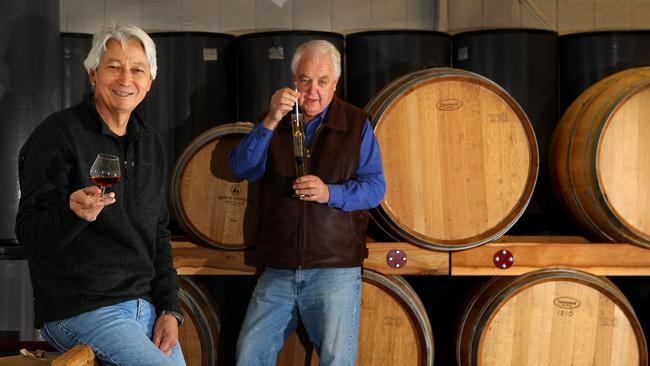 Wayne Klintworth (left) and Bob Laing of Bass & Flinders Distillery.