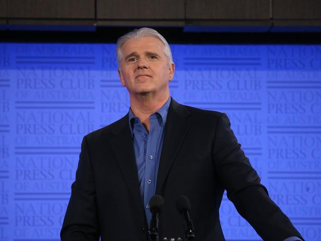 NBN CEO Bill Morrow addressing the National Press Club in Canberra. Picture: Kym Smith