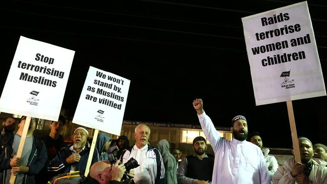 Sheik Harron (fourth from the right) at Lakemba protesting systematic police raids across Sydney.