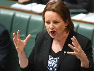 **FILE** A Monday, Oct. 17, 2016 image reissued Friday, Jan. 13, 2017 of Federal Minister for Health and Aged Care and Sport Sussan Ley during Question Time in the House of Representatives in Canberra. Prime Minister Malcolm Turnbull has announced at a press conference on Friday embattled government cabinet minister Sussan Ley has resigned from the frontbench. It follows revelations she used taxpayer-funded trips to buy property and attend New Year's Eve functions. (AAP Image/Mick Tsikas) NO ARCHIVING