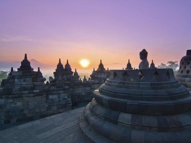 Sunrise Borobudur Temple Stupa in Yogyakarta, Java, Indonesia.