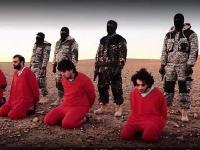 "A still from the latest ISIS propaganda video, which featured the execution of five British ""spies""."