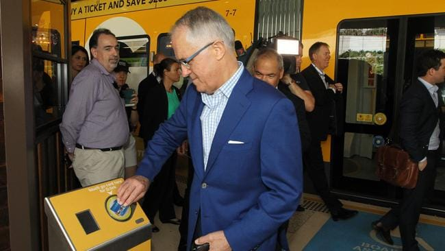 Prime Minister Malcolm Turnbull paid a visit to the Gold Coast and used his Go card after riding the tram. Picture: Scott Fletcher