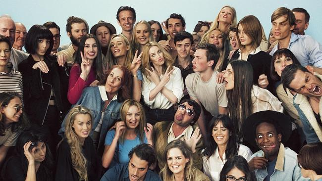 Kylie Minogue with dancers on the set of her 'I Was Gonna Cancel' video in Melbourne. Pic