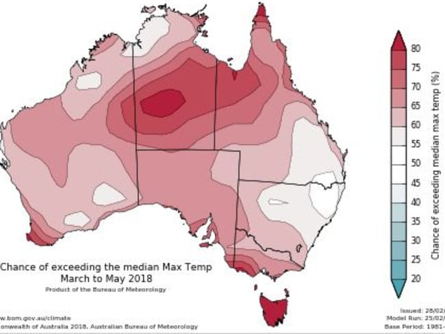 If you think things are cooling down soon, you're probably wrong with warmer than average temperatures expected. Picture: Bureau of Meteorology