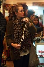 <p>Miley Cyrus shopping in Oxford Street, Paddington, this afternoon. Picture: Justin Lloyd</p>
