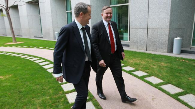 Anthony Albanese and Bill Shorten at Parliament House in Canberra.