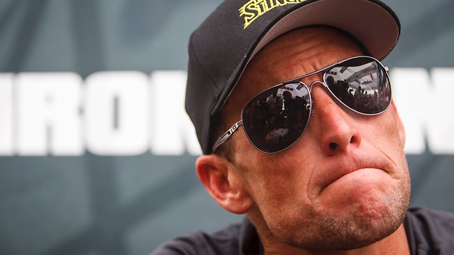 Tour de France champion Lance Armstrong during a recent news conference.