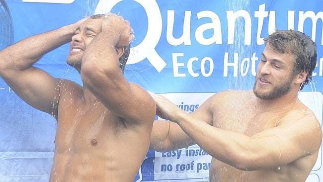 Manly football players Brett Stewart (l) and David Williams showered together for a promotion for an energy company (not connected to First Utility) in 2009.