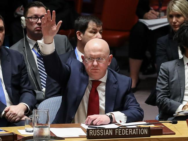 Russian Ambassador to the United Nations Vasily Nebenzya during a United Nations Security Council emergency meeting concerning the situation in Syria. Picture: AFP