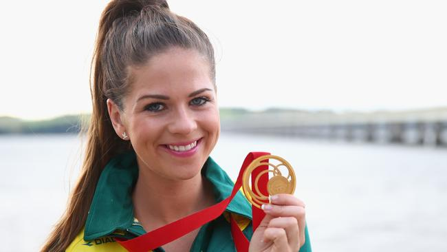 Laetisha Scanlan of Australia poses with her Gold medal.