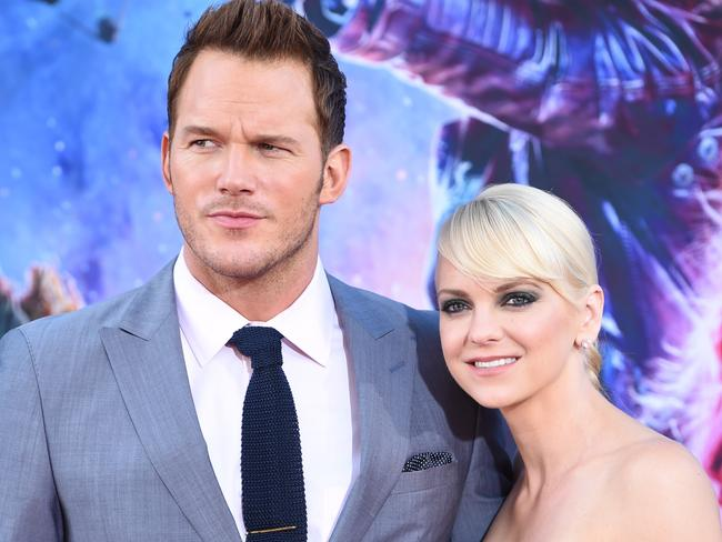 Pratt and wife Anna Faris attend the world premiere of  <i>Guardians</i> in Hollywood. Picture: AFP