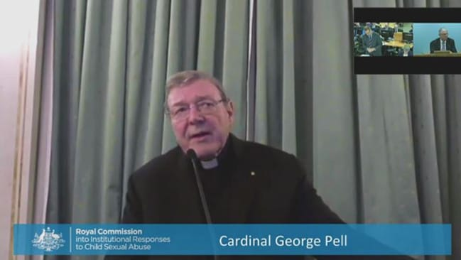 Cardinal George Pell gives evidence via videolink from Rome. Picture: Supplied