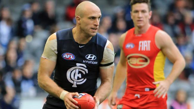 Chris Judd was back to his best against Gold Coast. Picture: Alex Coppel.