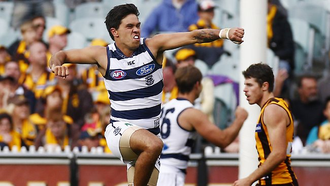 Geelong forward Allen Christensen kicked a critical last-quarter goal to set up the Cats victory over the Hawks. Picture:Michael Klein