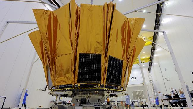 Scientists performing a shield deployment test on Gaia at the European space centre in Kourou in the French overseas department of Guiana. Picture: AFP