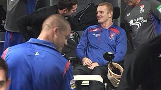 Alex McKinnon in the sheds at ANZ Stadium for a Knights clash.