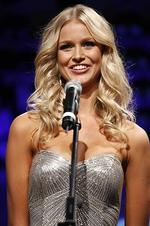 <p>Australian Renae Ayris answers a question for the judges before she is crowned Miss Universe Australia 2012 in Melbourne on June 8, 2012. Thirty-three finalists competed for the crown with winner Renae Ayris going on to represent Australia in the final. AFP PHOTO</p>
