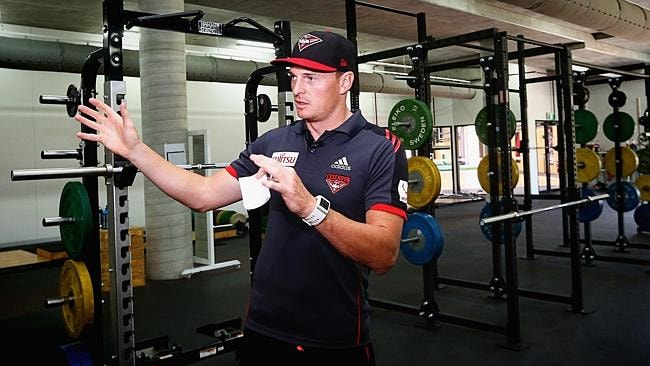 Brendon Goddard shows off the Bombers' new gym.
