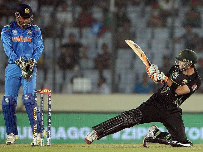 Glenn Maxwell gets clean-bowled during the ICC World Twenty20 tournament cricket match between India and Australia at The Sher-e-Bangla National Cricket Stadium in Dhaka.