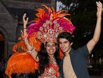 Antonia De Salamanca and James Guy pose for a picture at the Adelaide Fringe parade. AAP Image/MATT LOXTON