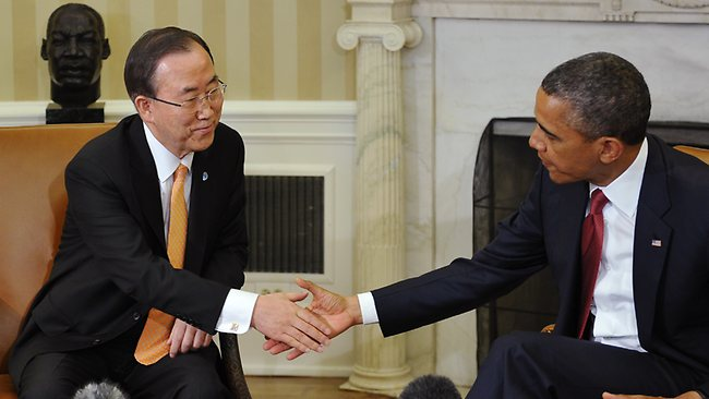 US President Barack Obama shakes hands with United Nations Secretary-General Ban Ki-moon during a meeting in the Oval Office of the White House.